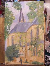 Huile Papier Metz Sablon Eglise St Fiacre André Simon 1926-2014 Artiste Lorrain