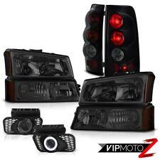 PAIR Headlights Smoke+Black Brake Tail Light Projector Foglamp Silverado 4.3L V6