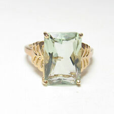 Estate 10K Yellow Gold 7.50 Ct Natural Emerald Cut Green Amethyst Solitaire Ring