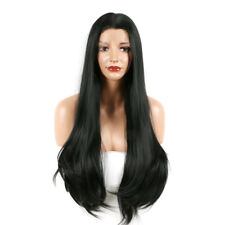 UK Womens Long Straight Bobo Wig Glueless Synthetic Lace Front Hair  Side-parted 9c47a46a98