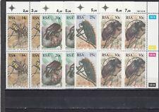 SOUTH AFRICA - SG612-615 MNH 1987 BEETLES - MARGINAL BLOCKS OF 4