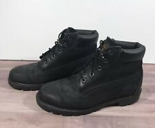 Timberland 6-inch Premium Waterproof Boots Black Nubuck Kids/Youth Sz 6 Women 8