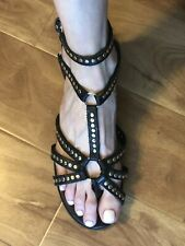 $600 *PIERRE HARDY* Black & Gold Studded Gladiator Sandals From Net A Porter US9