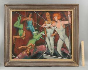 Authentic FREDERICK BUCHHOLZ Post-Impressionist CIRCUS ACROBATS Oil Painting
