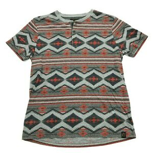 Lucky Brand Homme Henley Chemise Taille L Aztek Manche Courte Sud-Ouest T-Shirt