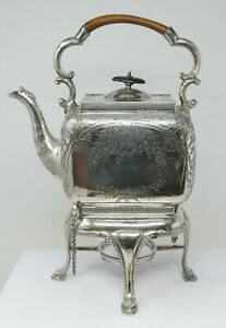 Vintage Silver Plated Tea Kettle on Burner Stand Nicely Floral Decorated