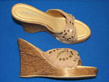 8.5 M Rio Beach UNLISTED Ladies Womens Wedge Shoes Sandals Brown Gold Dusty Rose