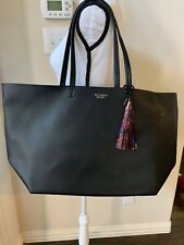 Victoria's Secret 2016 Black Faux Leather Large Tote Bag w/ Metallic Tassel