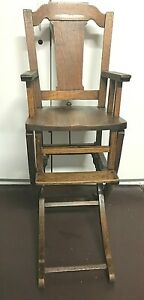 Antique Oak High Chair That Converts To A Rocking Chair  1900-1950