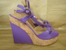 DOROTHY PERKINS UK 5 PURPLE PATENT PLATFORM CORK WEDGE SLINGBACK SANDALS