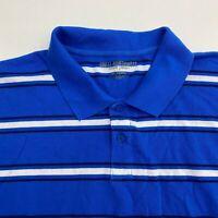 Great Northwest Polo Shirt Men's 2XL XXL Short Sleeve Blue White Striped Casual