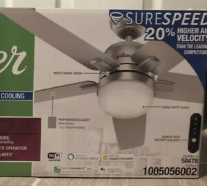 Hunter Cavera 52 in. Indoor Matte Nickel Wi-Fi Smart Ceiling Fan LED Remote Gray