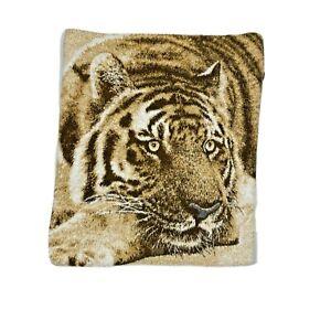 Vintage 70s Biederlack USA Tiger Reversible Blanket Fleece Throw Quilt Brown HTF