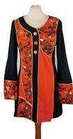 Joe Browns Size 10 Blue Orange Long Sleeve Retro Style Dress Autumn Winter