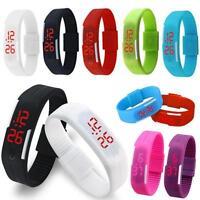 Men Women Kid Silicone Rubber LED Watch Date Sports Bracelet Digital Wrist Watch