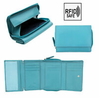 Prime Hide Turquoise Leather Trifold Purse Zipped Tray Wallet RFID Blocking NEW