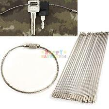 20Pcs 150mm EDC Wire Rope Key Ring Stainless Steel Wire Chain pendant Loop