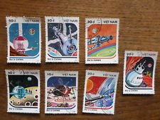 VIETNAM 1988 SPACE MODEL SPACECRAFT SET 7 USED STAMPS