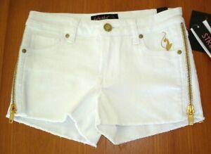 Baby Phat Zipper Accent Cutoff Shorts white 11 NWT