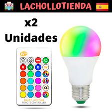 Pack 2 Bombillas Led Colores E27 4W con mando control remoto