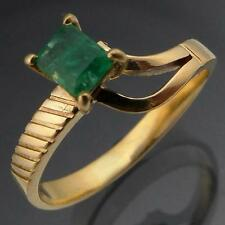 DYNAMIC Asymmetric Natural EMERALD 18k Solid Yellow GOLD SOLITAIRE RING Sz M1/2