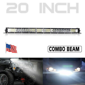 20in LED Light Bar Spot Flood Combo Dual Row Slim Offroad Work Driving Truck US