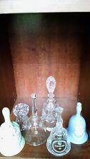 collectible bells lot of 6 Fine Glass Crystal and ceramic Bells
