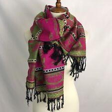 Pashima 100 % Cashmere Pink Green Black Wrap One Size Fits Shawl Scarf
