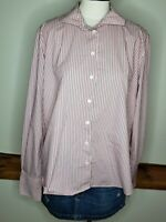 Lands End Women's Shirt Button Up Plus Size 18 Pink Gray Striped