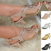 Womens Mid heel Slingback Peep toe Shoes Mesh Rhinestone Dress Sandals Size 3-8