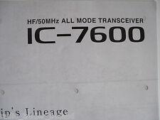Icom - 7600 (authentique brochure seulement)... radio _ trader _ irlande.