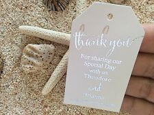 10 White Gift Tags Wedding Favour Bomboniere Personalised Silver Foil Thank You