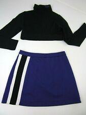 Child Cheerleader Uniform Outfit Costume Crop Top Skirt Xcel Purple Black  00004000 8/10