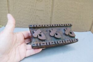 "Block Print Hand Carved Wood Printing Stamp Fleur De Lis 6 1/4"" Textile / Paper"