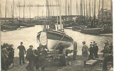 More details for lossiemouth. launch of the lifeboat. card by rome o.innes, lossiemouth.