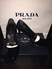 NIB New Prada Black Patent Leather Platforms Classic Heels Shoes 39.5 8.5 9 US