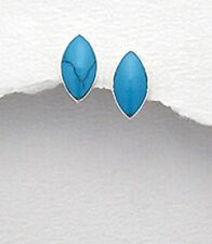 NEW 12mm SOLID Sterling Silver 925 Genuine Blue Turquoise Marquis Studs Earrings