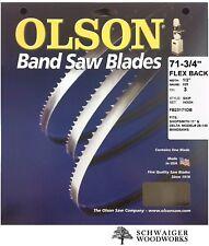 """Olson Band Saw Blade 71-3/4"""" - 72"""" inch x 1/2"""", 3T, Delta 28-140, 11"""" Shopsmith"""