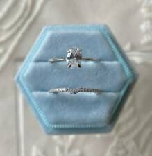 1.00 Carat Oval Moissanite Accented Engagement Wedding Set 14K White Gold Plated