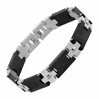 Men's Two-Tone Cross Link Bracelet in Stainless Steel, 8.25""