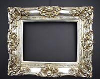 Massiver Bilderrahmen 60x50 cm / 30 x 40 cm Antik Silber Gemälde Barock Rahmen
