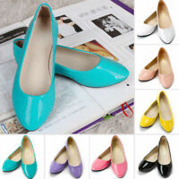 Womens Ladies Flat Pumps Glitter Ballet Ballerina Dolly Bridal Plain Shoes Size