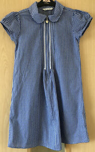 GIRLS M&S SCHOOL BLUE GINGHAM SUMMER DRESS AGED 6-7 YEARS