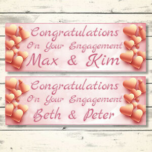 2 PERSONALISED ROSE GOLD ENGAGEMENT BANNERS - DESIGN 2 ROSE GOLD HEARTS