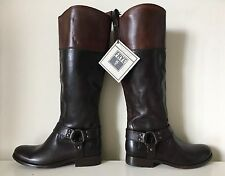 $428 FRYE Melissa Harness Colorblock Tall Brown Knee High Inside Zip Boot Sz 5.5