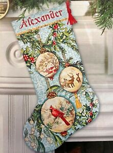 """DIMENSIONS Gold """"Enchanted Ornaments Stocking"""" Xmas Counted Cross Stitch Kit"""
