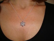 Nuevo Mujeres Niñas Copo de Nieve de Cristal Enchapados en Plata 925 Collar Colgante con cadena