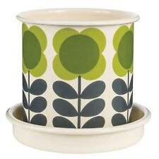 Orla Kiely Small Spot Flower Stem Plant Pot Saucer Included 110mm Diameter Green