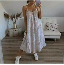 Neues AngebotNeue h&m Knitter Baumwolle Midi Kleid Hellrosa Blumenmuster Größe Small UK 10-12