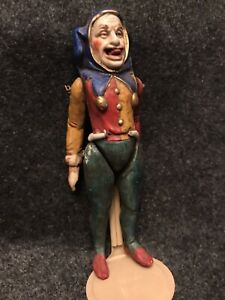 "Very Rare - Antique Bisque Royal Court Jester Doll 5"" With Reticulated Tongue"